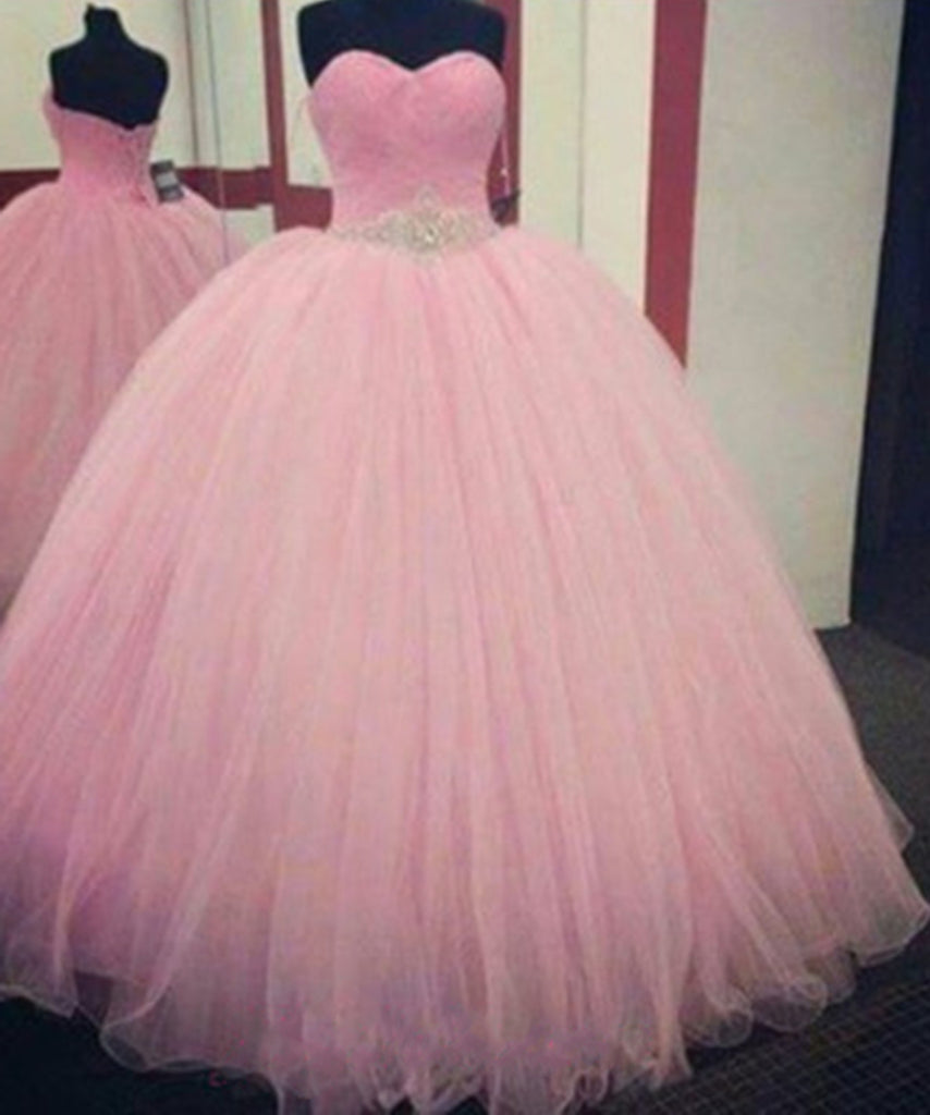 Pink organza princess sweetheart sequins prom dresses,strapless ball gown dress - prom dresses 2018