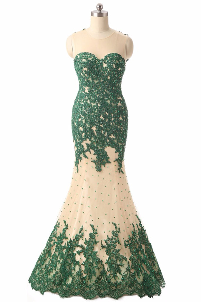 Green lace see-through mesh mermaid long evening dresses,formal ...