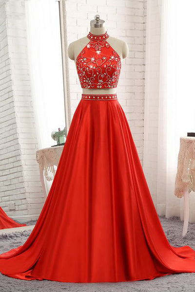 Sweet 16 Dresses | Shinning red satin two pieces high neck strapless long A-line senior prom dresses
