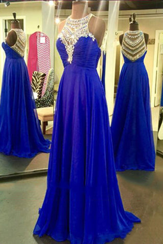 Navy blue chiffon A-line sequins o-neck shining beading rhinestone long  prom dresses - Sweetheartgirls