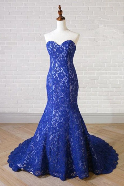 Sweet 16 Dresses | 2019 Sweetheart Neck Royal Blue Lace Long Mermaid Prom Dress