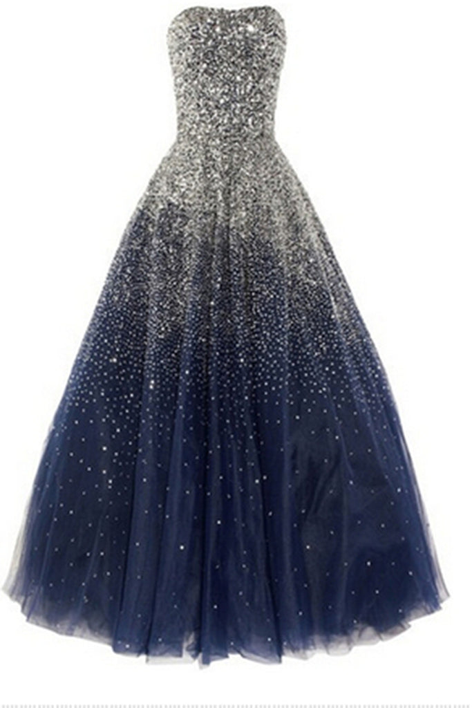 Prom 2020 | Deep blue tulle sweetheart shining sequins A-line long evening dress, formal dresses