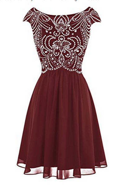Burgundy chiffon beading round neck A-line short prom dress  ,cute party dresses - occasion dresses by Sweetheartgirls
