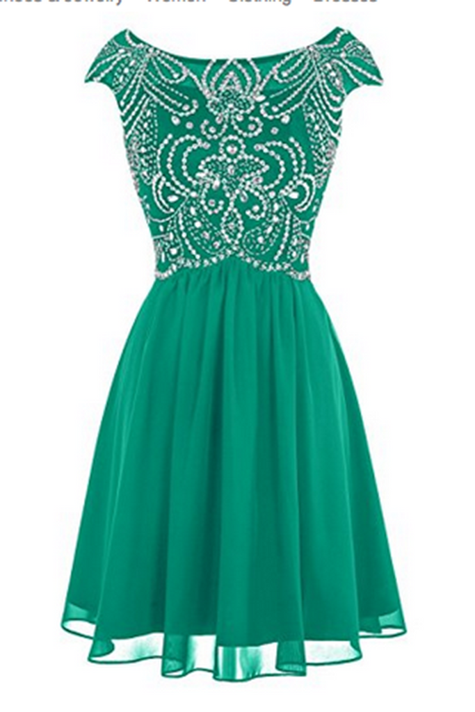 Green chiffon beading round neck A-line short prom dress ,cute party ...