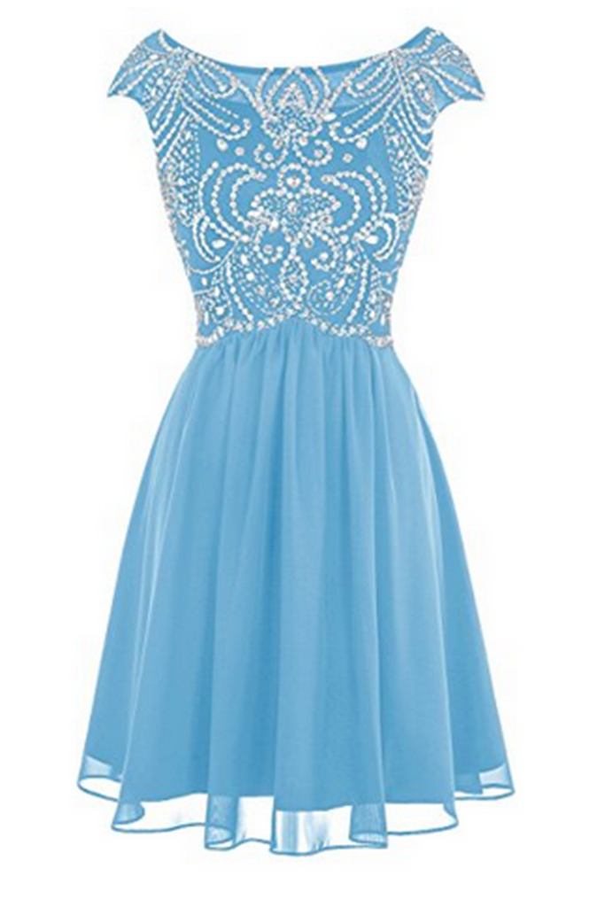 2019 Prom Dresses | Blue chiffon beading round neck A-line short prom dress  ,cute party dresses