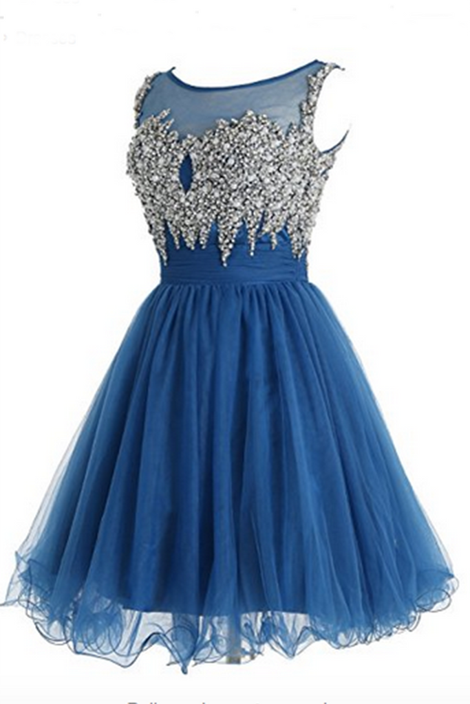 Sky blue organza sequins beaded round neck A-line  short dresses for teens - occasion dresses by Sweetheartgirls