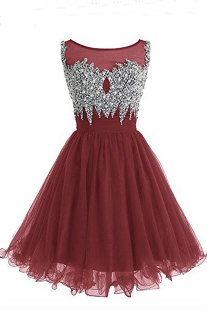 Sweet 16 Dresses | Red organza sequins beaded round neck A-line  short dresses for teens
