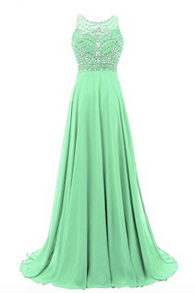 Green chiffon round neck sequins beaded A-line long prom dresses for teens,evening dress - occasion dresses by Sweetheartgirls