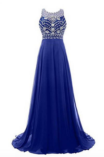 Navy blue chiffon round neck sequins beaded A-line long prom dresses for teens,evening dress - occasion dresses by Sweetheartgirls