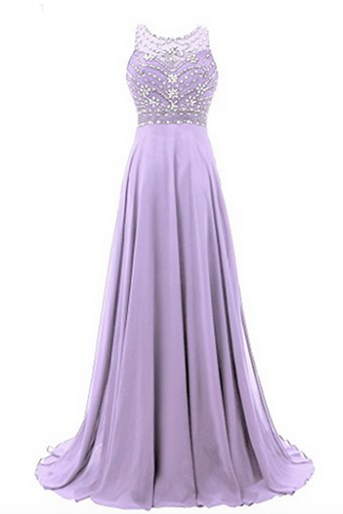 Lavander chiffon round neck sequins beaded A-line long prom dresses for teens,evening dress - occasion dresses by Sweetheartgirls