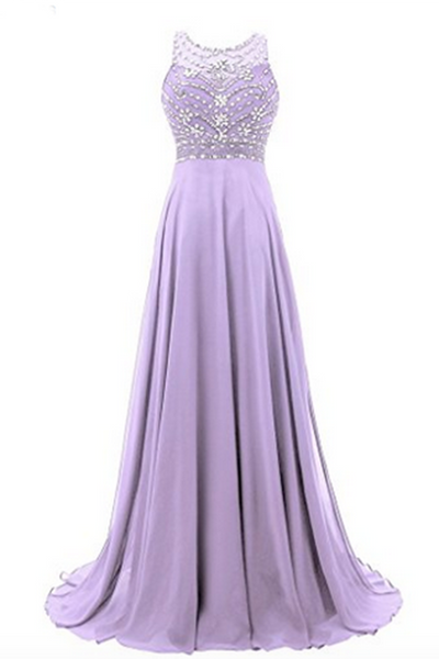 Sweet 16 Dresses | Lavander chiffon round neck sequins beaded A-line long prom dresses for teens,evening dress