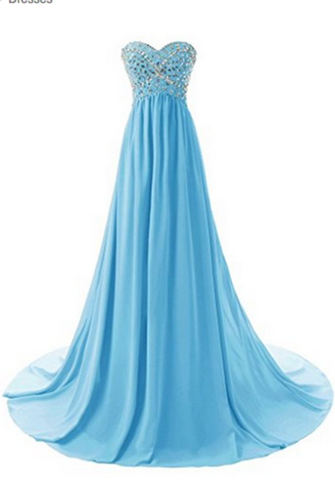 2019 Prom Dresses | Baby blue chiffon sweetheart sequins beaded A-line floor-length long dresses for teens