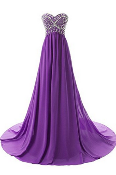 Sweet 16 Dresses | Purple chiffon sweetheart sequins beaded A-line floor-length long dresses for teens