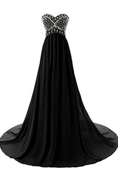 2019 Prom Dresses | Black chiffon sweetheart sequins beaded A-line floor-length long dresses for teens