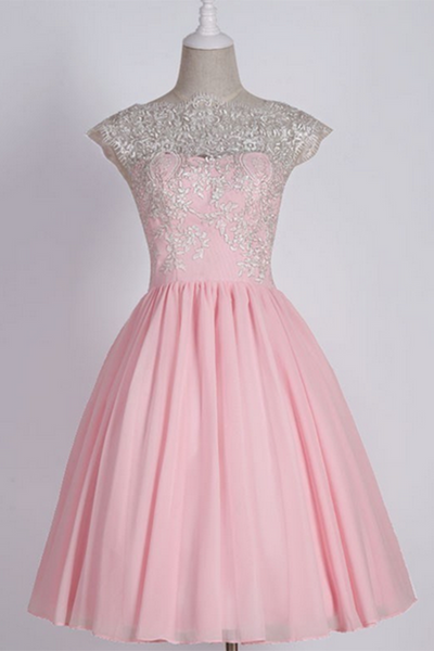 Pink chiffon lace top see-through round neck A-line short party dress , casual dresses - prom dresses 2018