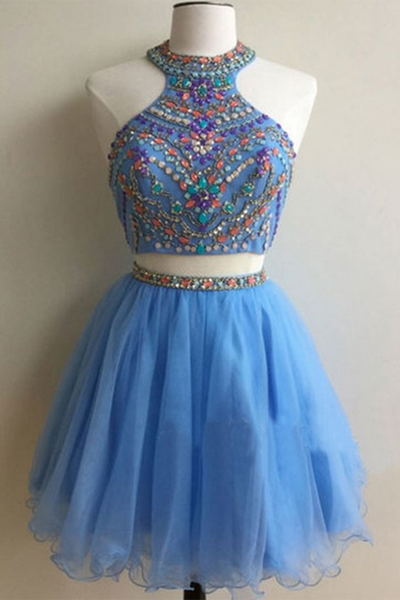 2018 evening gowns - Light blue organza two pieces beading sequins A-line short dresses for teens,party dresses