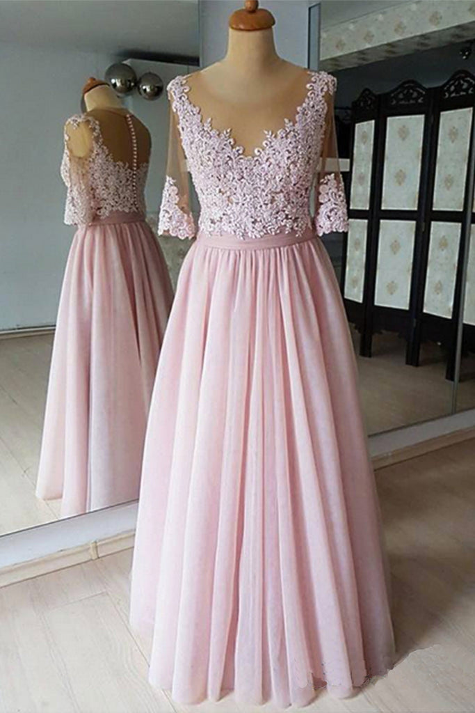 Pink Chiffon Mid Sleeve Long Plus Size Formal Prom Gown, Lace Sweet 16 Prom  Dress