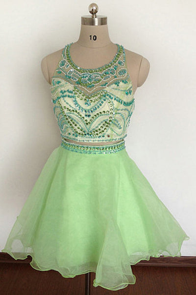 Light green two pieces cross back A-line short prom dress  ,cute party dresses - occasion dresses by Sweetheartgirls
