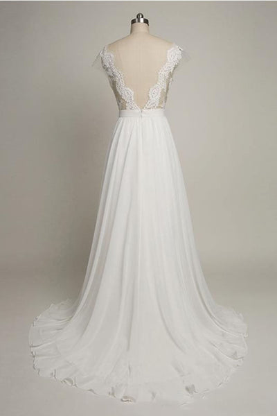 Sweet 16 Dresses | White chiffon lace round neck long dresses,elegant bridesmaid dresses