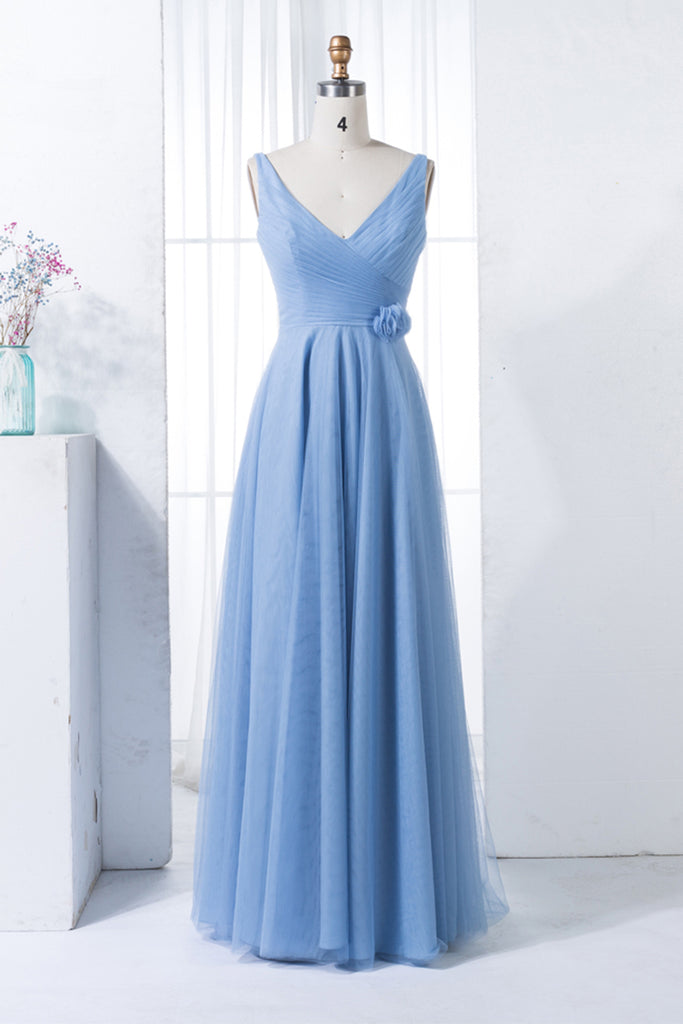 94dab5859a3c 2019 Prom Dresses | Blue Chiffon V Neck Simple Open Back Long Prom Dress,  Party
