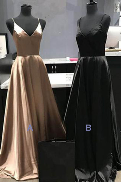 2019 Prom Dresses | Big discount new 2019 long satin A-line bridesmaid dress, long graduation dress