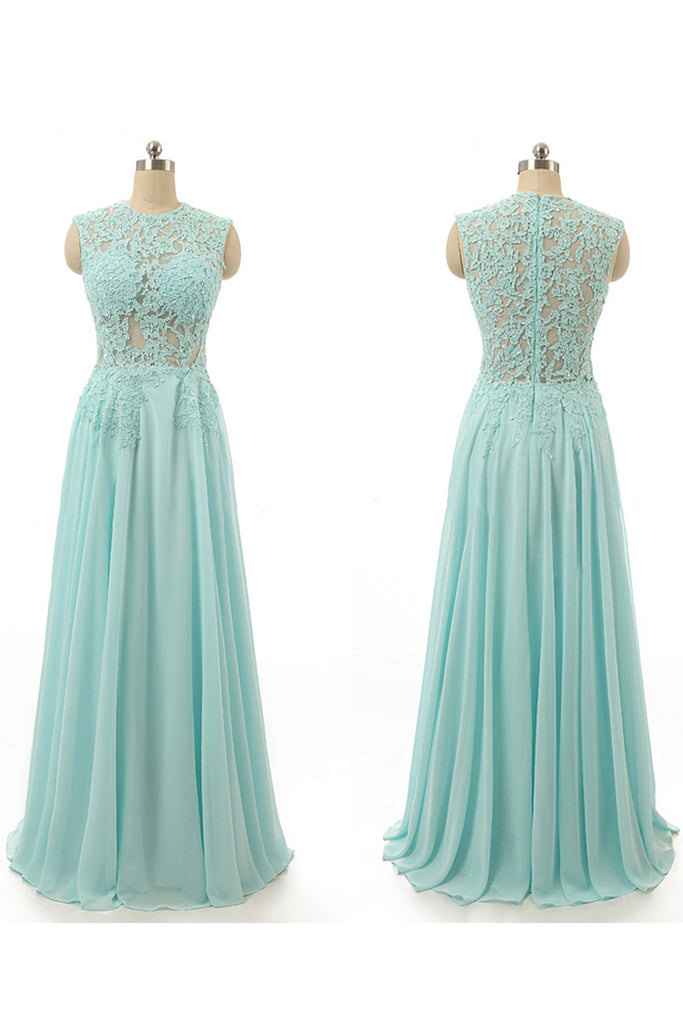 Light blue chiffon lace top O-neck see-through long prom dresses ...