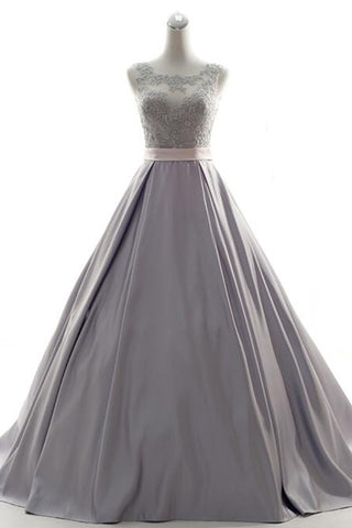Sparkly Gray Satin Appliques Beaded Long Backless Prom Dress With Sash