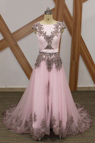 Pink Tulle Sparkly Beaded Long Cap Sleeve Formal Prom Dress