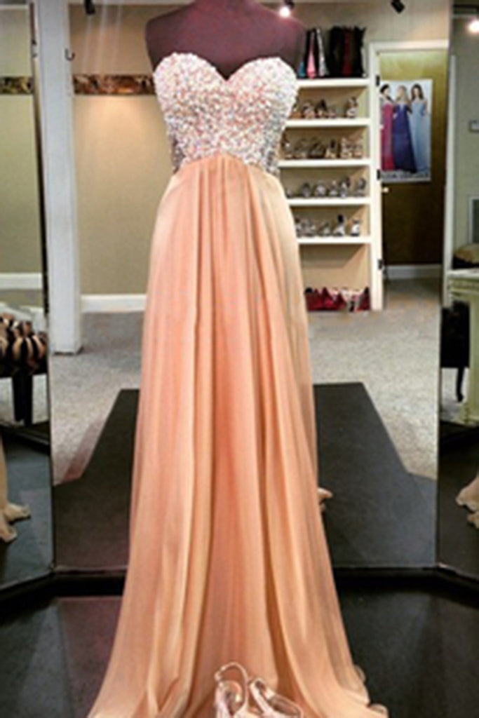 Light-gold chifffon sweetheart beading A-line  long evening dress, formal dresses for teens - Sweetheartgirls