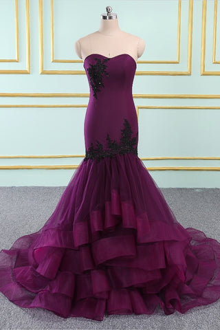 Sweetheart Neck Purple Organza Long Mermaid Layered Evening Dress Prom Dress
