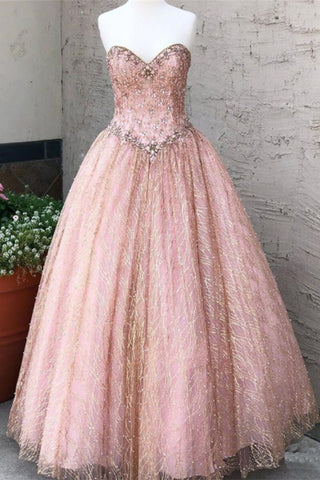 Sweetheart Neck Pink Tulle Quinceanera Dress Beaded Long Prom Dresses