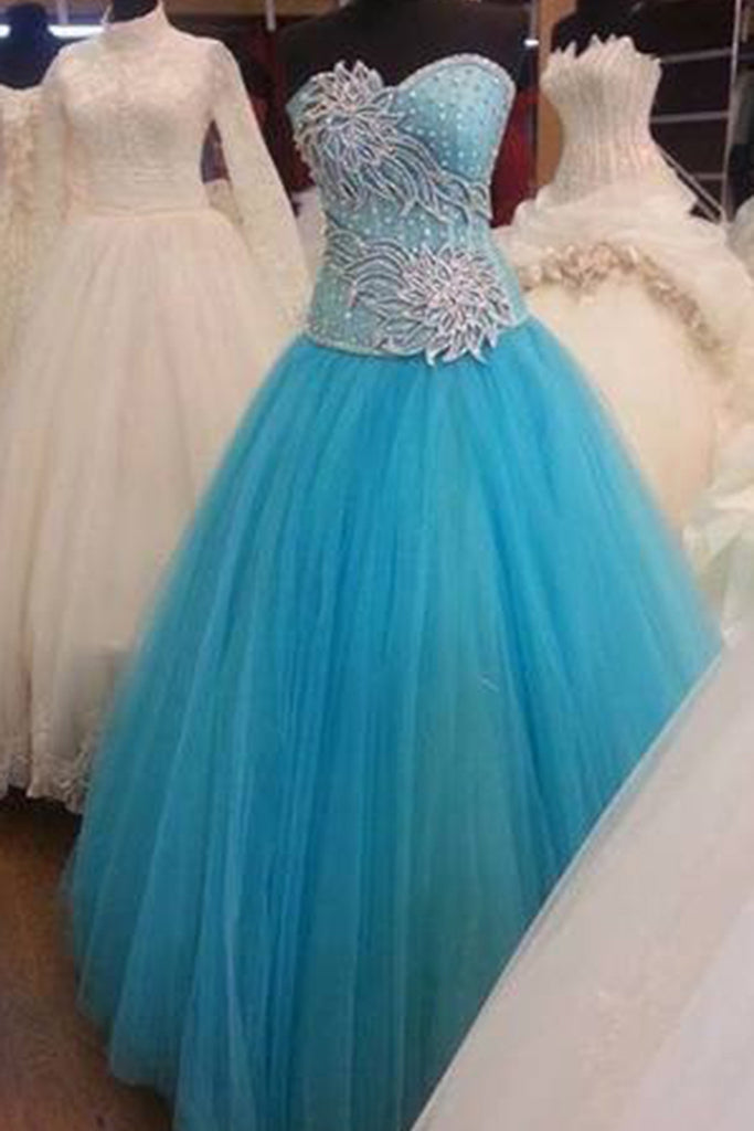Prom 2020 | Sky blue tulle sweetheart applique A-line long ball gown dress, formal dresses
