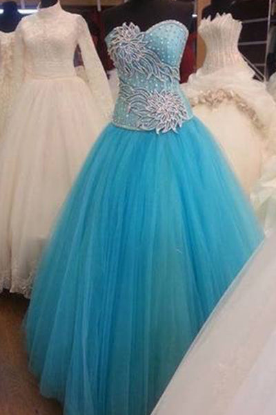 Sky blue tulle sweetheart applique A-line long ball gown dress, formal dresses - prom dresses 2018