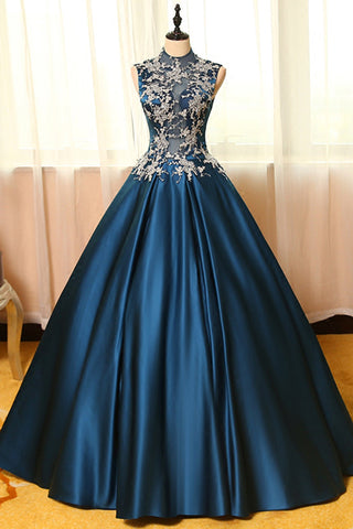 2018 evening gowns - Blue  satins lace applique round neck see-through A-line  long prom dresses,ball gown dresses