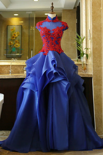 Royal blue organza applique stand collar cap sleeves A-line  long prom dresses - occasion dresses by Sweetheartgirls