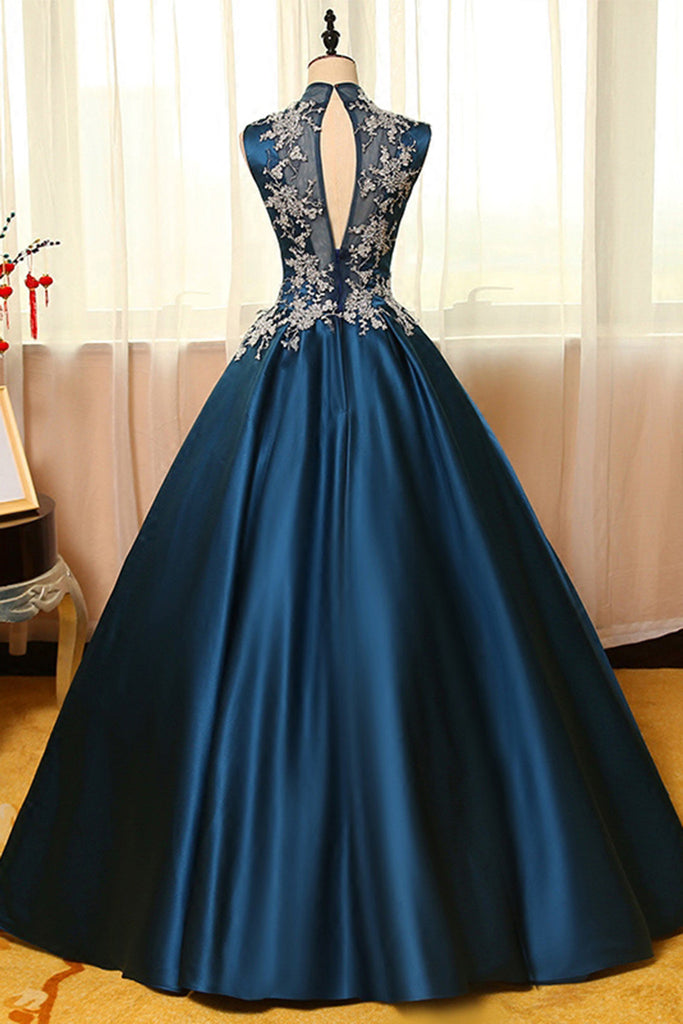 Blue satins lace applique round neck see-through A-line long prom ...