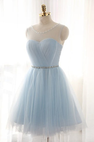2018 evening gowns - Light blue tulle see-through round neck lace up short dress, 2017 new formal prom dress for teens