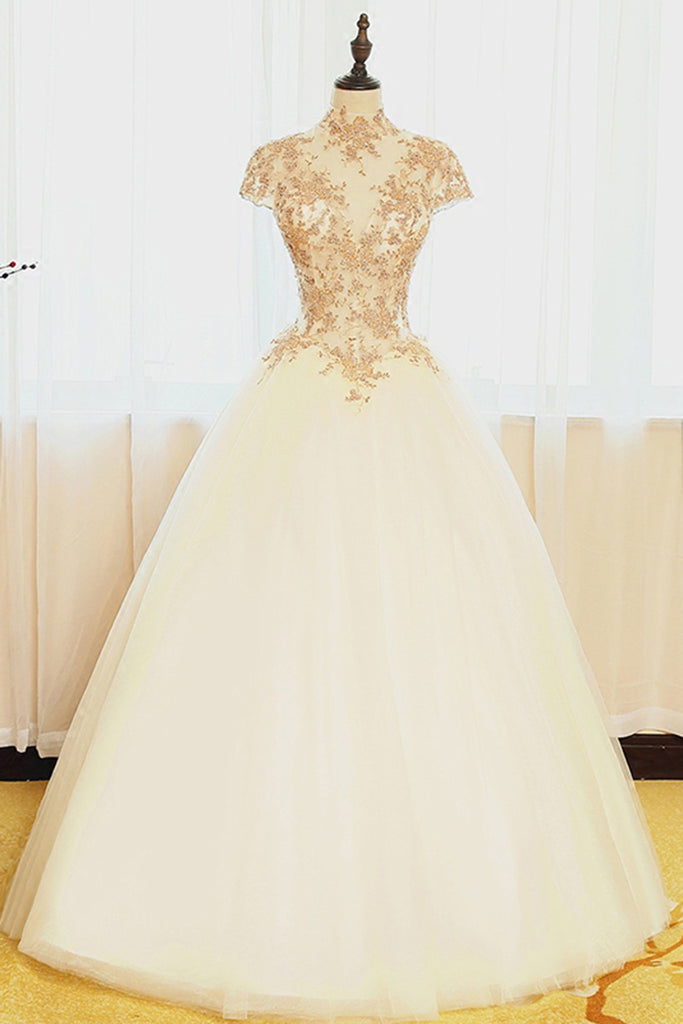 Prom 2020 | Ivory organza lace applique high neck cap sleeves A-line  long prom dresses,wedding dresses