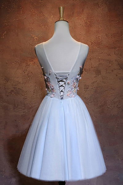 Sweet 16 Dresses | Simple white tulle mini V neck bridesmaid dress, short 3D flower homecoming dress