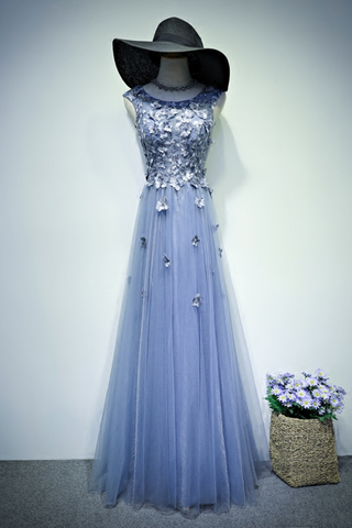 Elegant blue tulle long A-line lace appliqués senior prom dress, evening dress