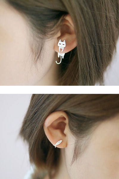 Sweet 16 Dresses | Simple 925 Sterling Silver Party Earring, Cat And Fish Earrings