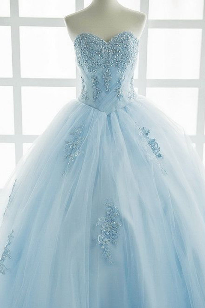 Princess ice blue tulle high waist long sweet16 prom dress with ...