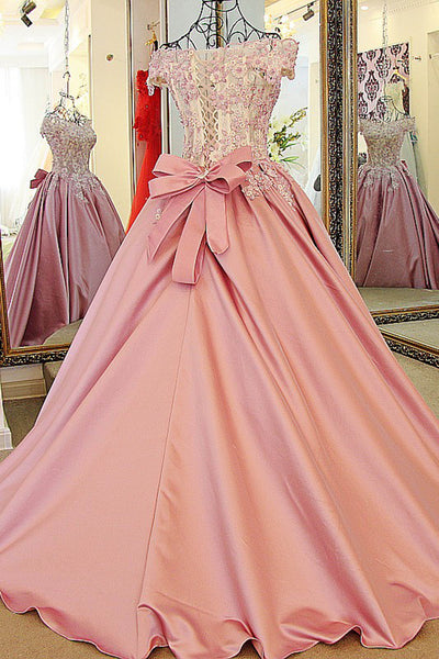 Peach satins lace off-shoulder A-line applique long ball gown dress,princess evening dress - prom dresses 2018