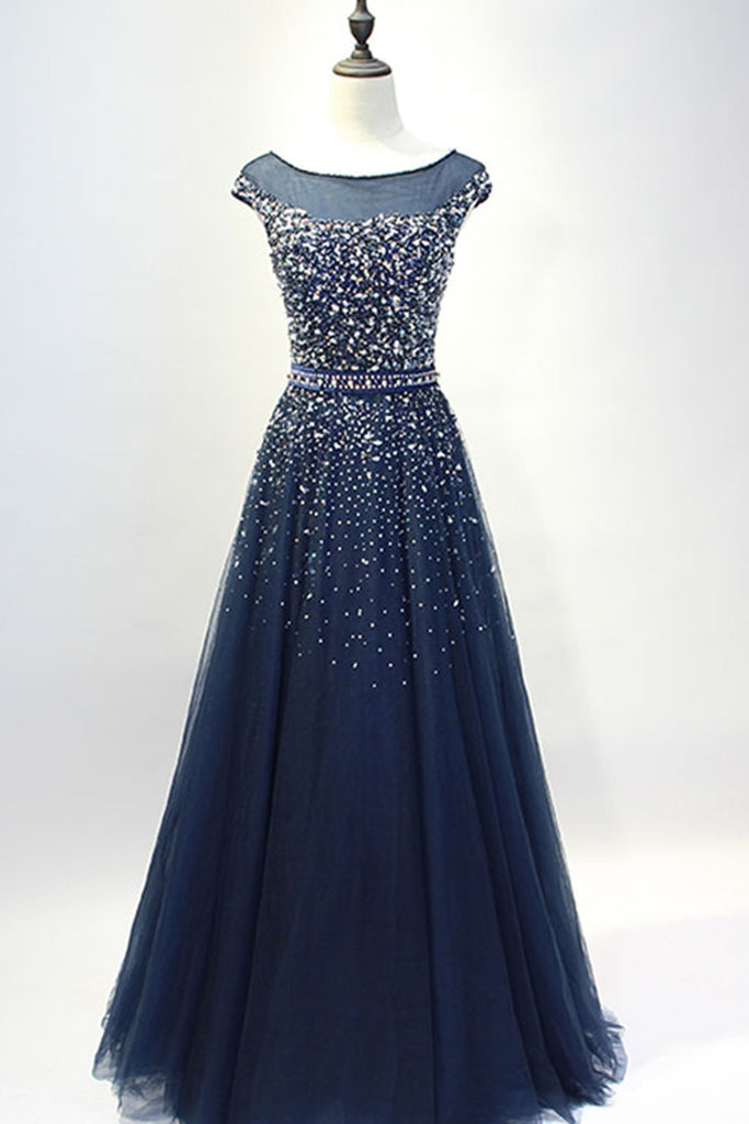 Dark Blue Tulle Sequins Round Neck Full Length Prom Dresses A Line