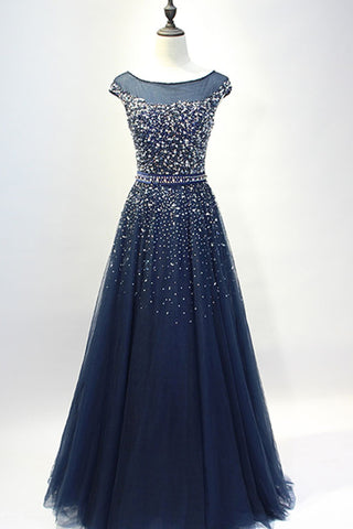 2018 evening gowns - Dark blue tulle sequins round neck full-length prom dresses, A-line evening dresses with straps