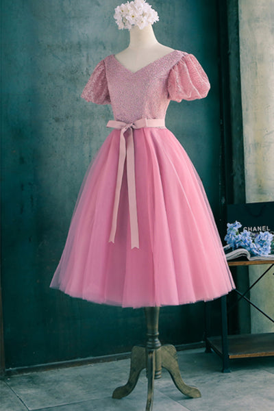 2019 Prom Dresses | Beautiful pink organza Princess V-neck  A-line lace up knee-length  dress with sleeves