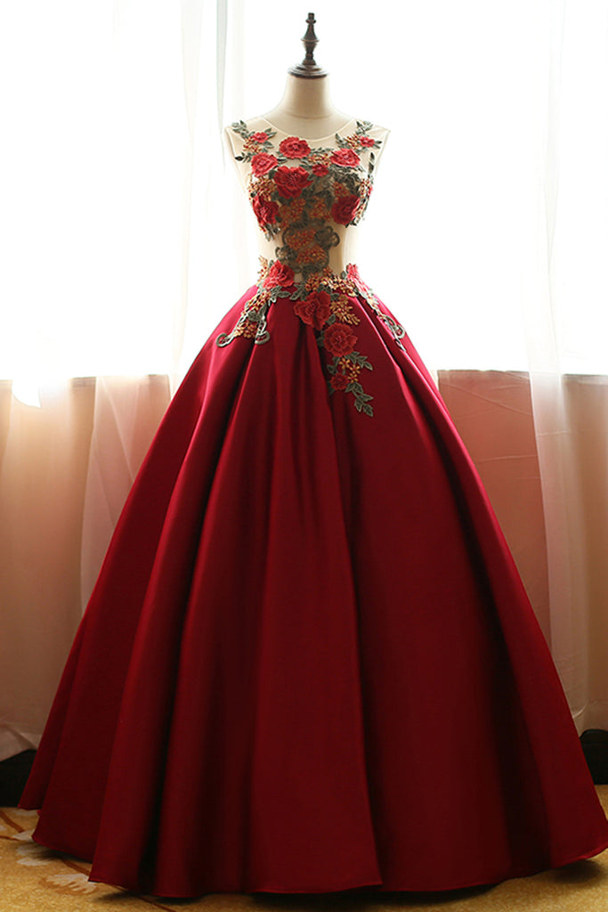 Prom 2020 | Red chiffon satins rose applique round neck A-line  long prom dresses,ball gown dresses