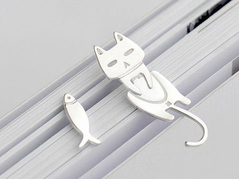 Simple 925 Sterling Silver Party Earring, Cat And Fish Earrings