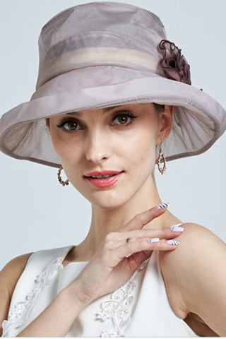 Sweet 16 Dresses | Beige,Blue, Gray Hat,New Beautiful Women Church Hat 100% Silk Summer Hat, Fashion Hat