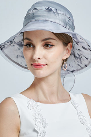 Light Blue, Gray Fashion Hat,New Beautiful Women Summer Hat 100% Silk Fashion Hat